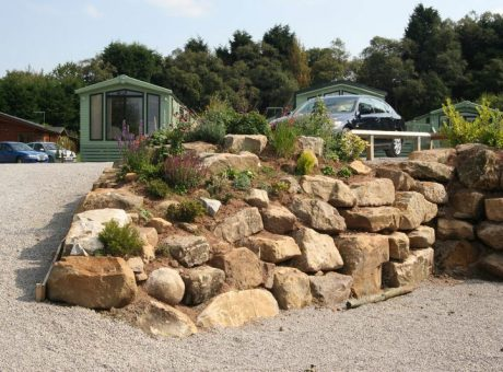 Caravan Park with rock garden